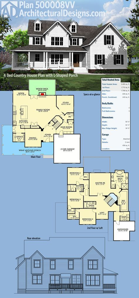 Plan 500008vv 4 Bed Country House Plan With L Shaped