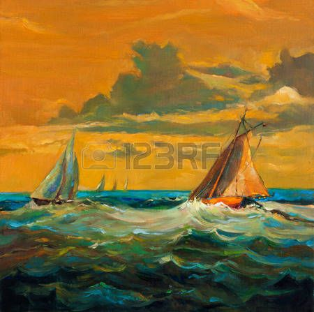 Stock Photo With Images Boat Art Painting Original Oil Painting