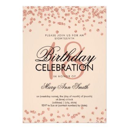 Elegant 18th Birthday Rose Gold Glitter Confetti Card Confetti - confeti