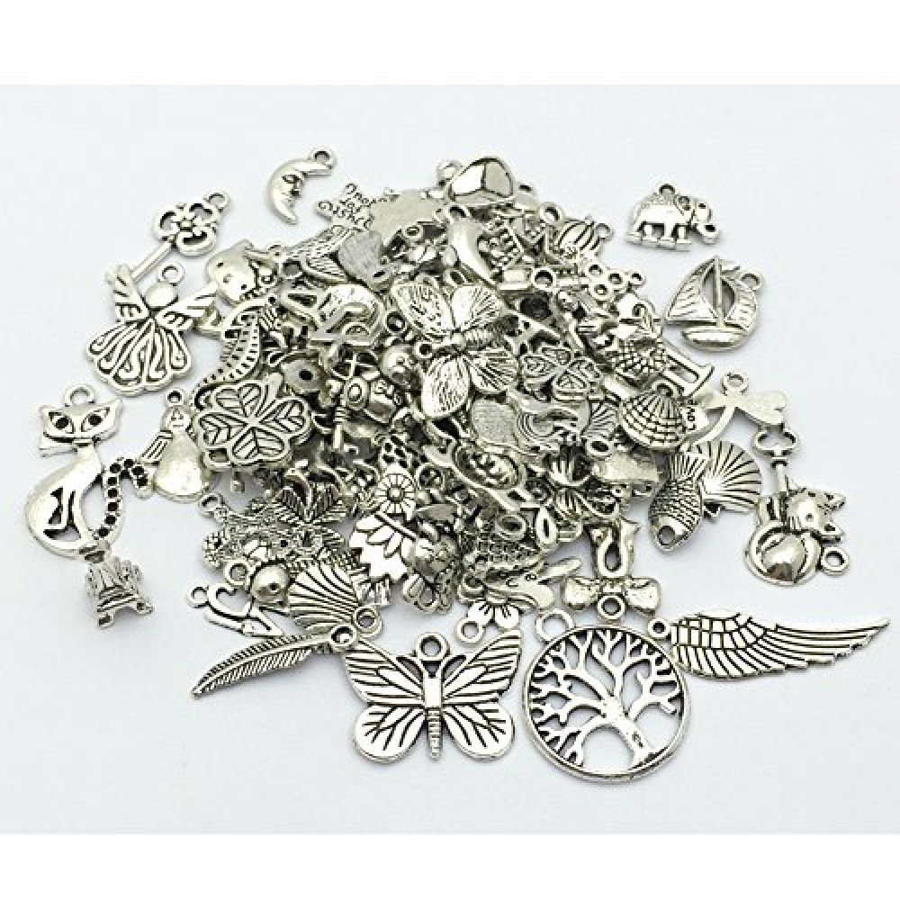JIALEEY Wholesale 100 Grams Assorted Heart Shaped Pendants Connector Love Charm Bulk for DIY Necklace Bracelet Jewelry Making Accessories