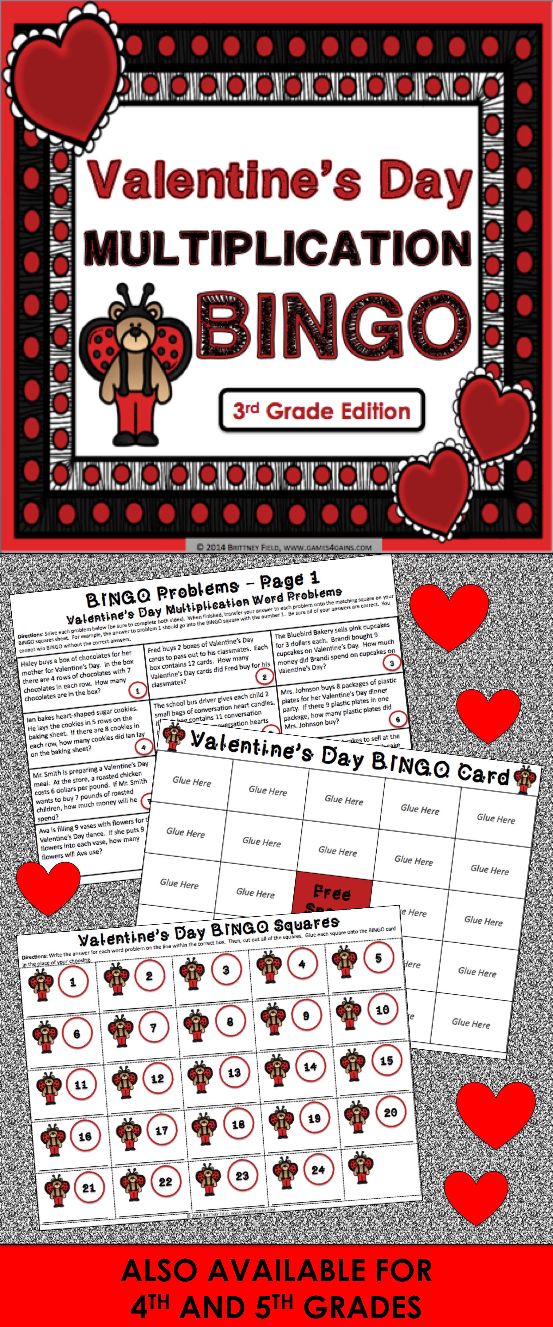 Valentine S Day Math Game Multiplication Facts Word