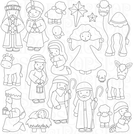 digital clip arte de establecer y para colorear paginas ... - Nativity Character Coloring Pages