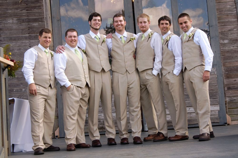 country wedding groomsmen outfits Linen vests and ties From JCPenny  Country wedding