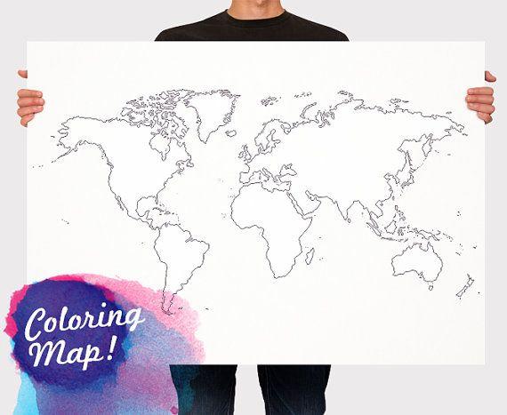 Custom blank coloring world map print poster outline map of the custom blank coloring world map print poster outline map of the world travel map wall hanging large medium size gumiabroncs Choice Image