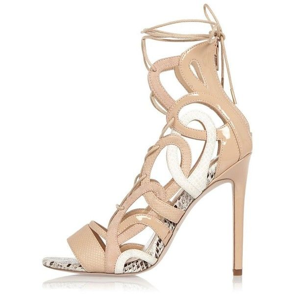 River Island Nude lace-up caged heels ($79) ❤ liked on Polyvore featuring shoes, nude, sandals, shoes / boots, women, python print shoes, river island, caged high heel shoes, nude high heel shoes and high heel shoes