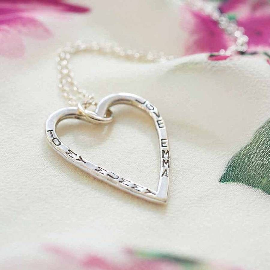 Personalised Large Open Heart Necklace  A beautiful sterling silver large open heart necklace with your choice of message, name or date running down each side of the pendant. Each curved side of the heart can have a maximum of 11 characters including spaces. This design is an incredibly popular option to show your Mum or partner just how much they mean to you.