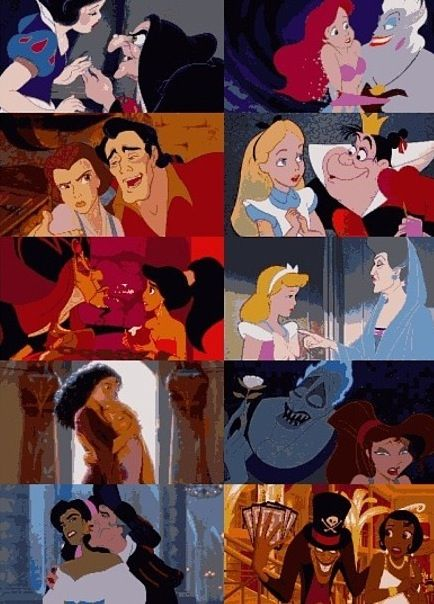 Disney Heroines with their villains