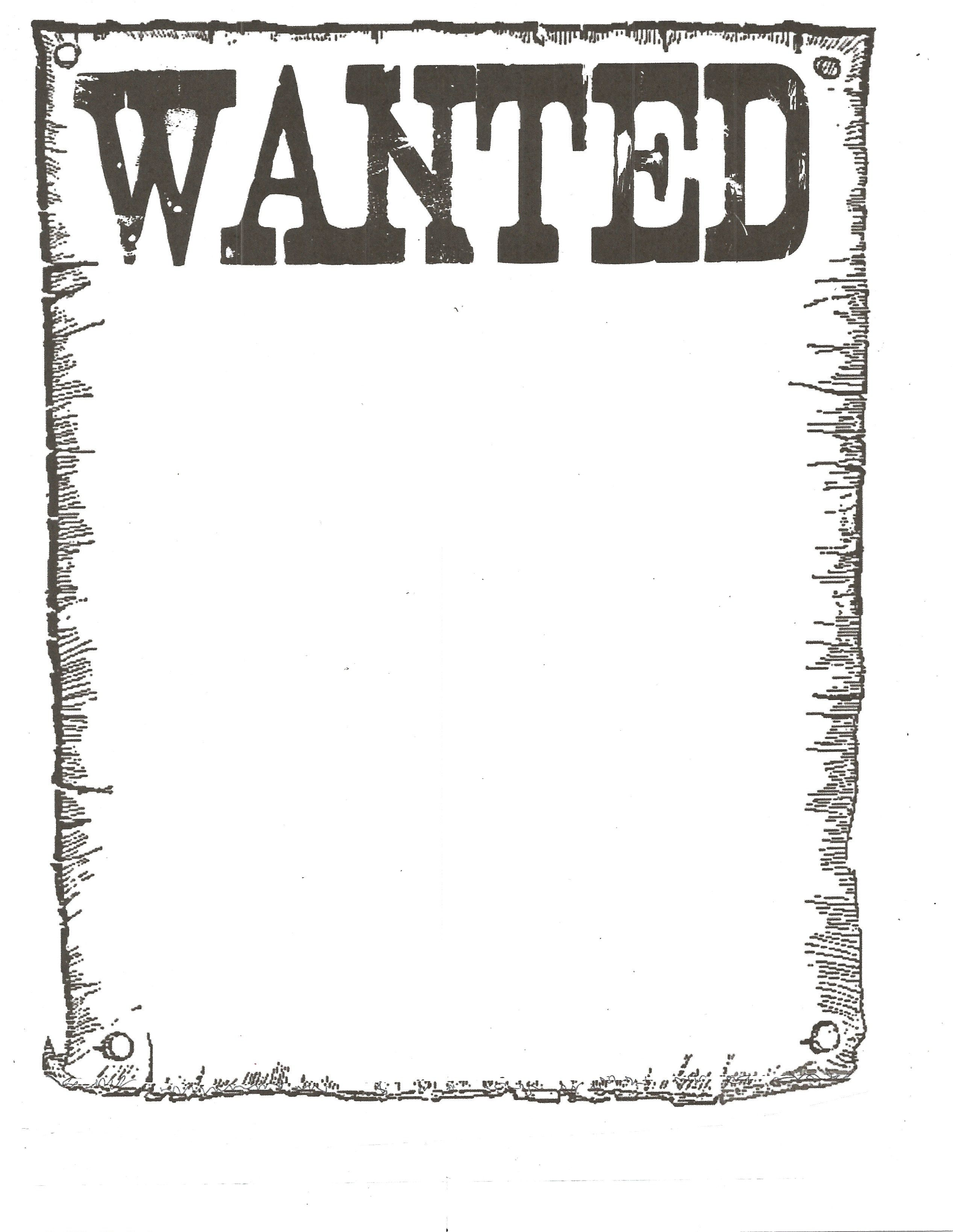 Wanted Poster Classroom Freebies Western Crafts Words