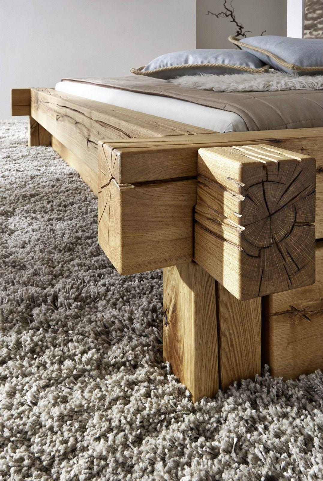 Doppelbett Bett Balkenbett 180x200cm Wildeiche Eiche Massiv Geolt Bett Rustikal Holz Eichenbetten Bett Massivholz