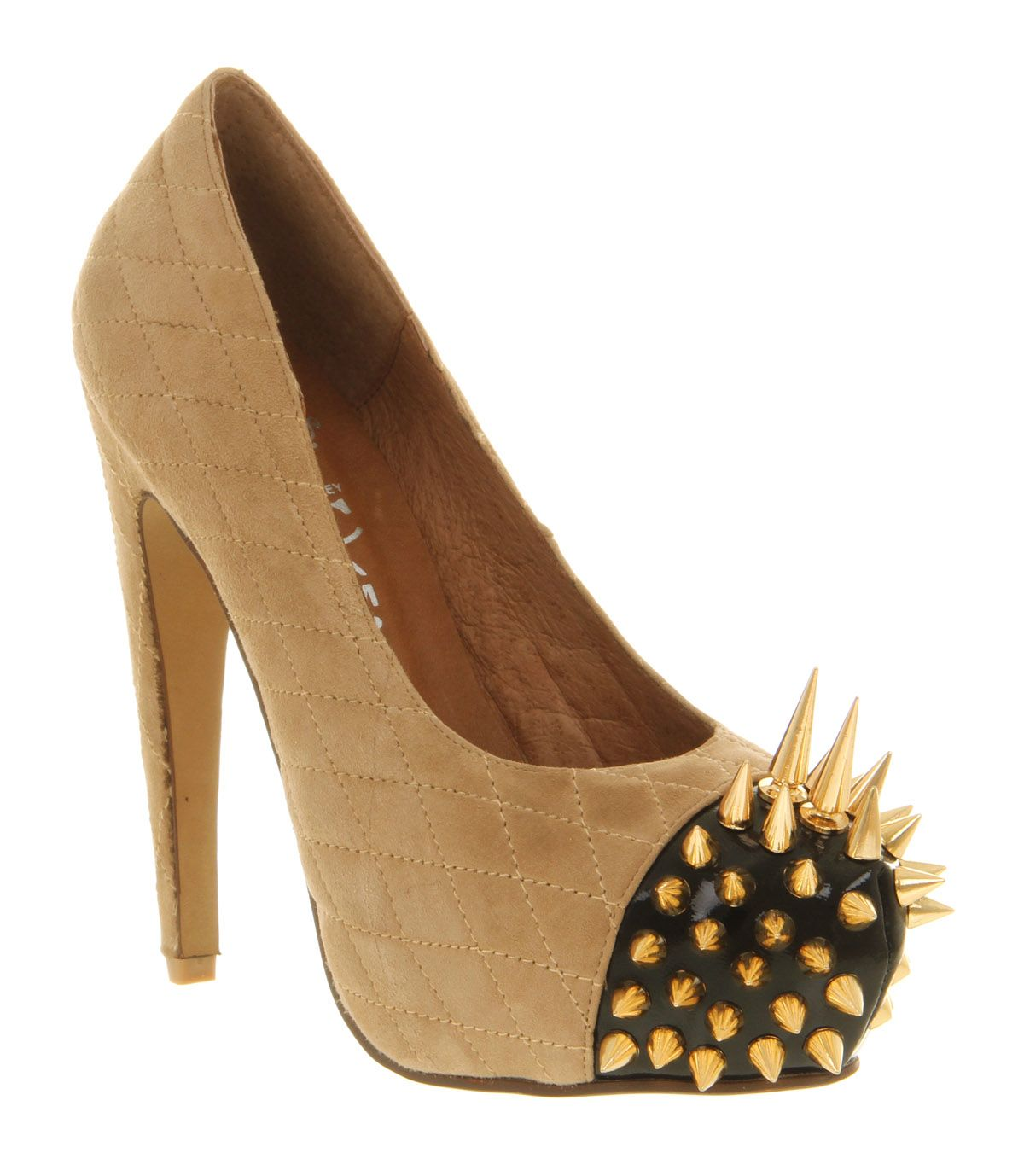Womens Jeffrey Campbell Battle Spike High Heel NUDE SUEDE GOLD SPIKES Heels