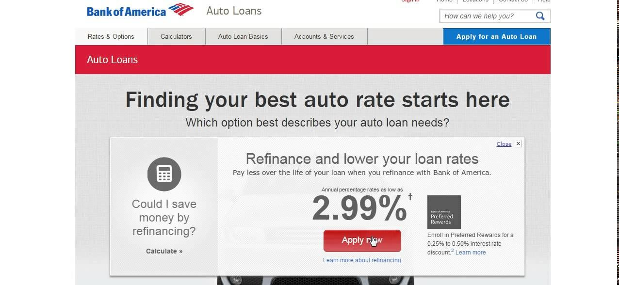 bank of america used car finance
