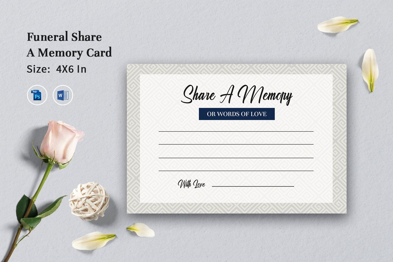 Share A Memory Card Printable Share A Memory Card Template Etsy Card Template Memory Cards Memorial Cards For Funeral