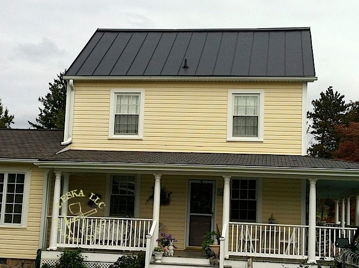 Dark Warm Grey Roof With A Pale Yellow House Metal Roof Houses