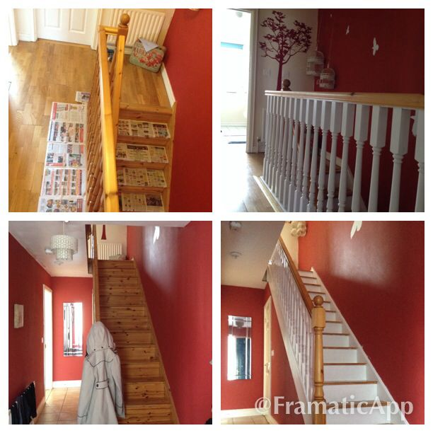 My Pine Stairs Painted White Before After Used Usp Bin Primer And Two Coats White Dulux Satinwood Paint Painted Stairs Stairs Painted White House Design