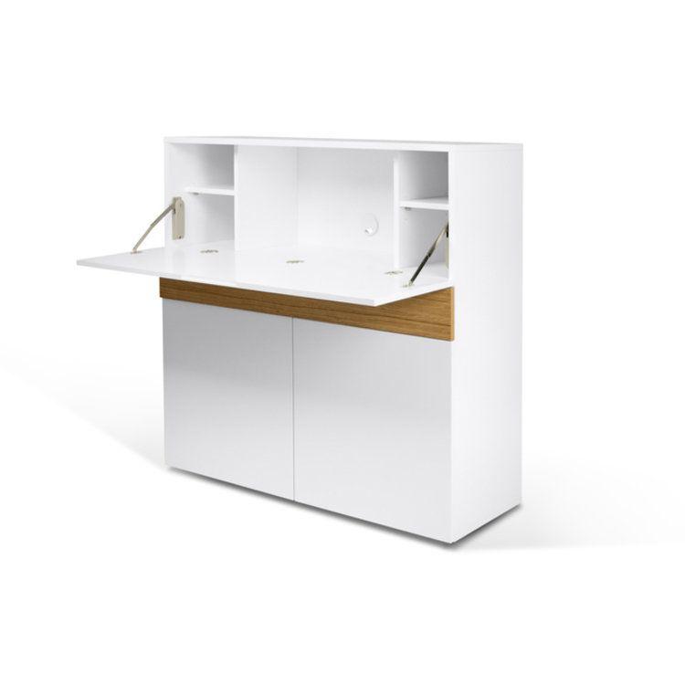 Bureau dangle en bois avec 4 niches et 3 tiroirs L145 cm OLDANO