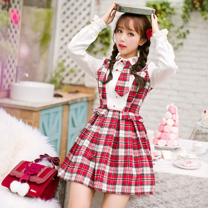 Candy Rain 2016 Spring Autumn Women 39 S Girls Lolita Kawaii Suspender Apron Dress Princess Dolly