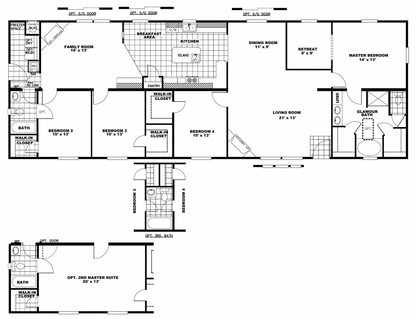 Manufactured Homes Clayton Sed 2876 4a Blue Diamond Home Amp Rv Ranch House Floor Plans Single Level House Plans Bedroom Floor Plans