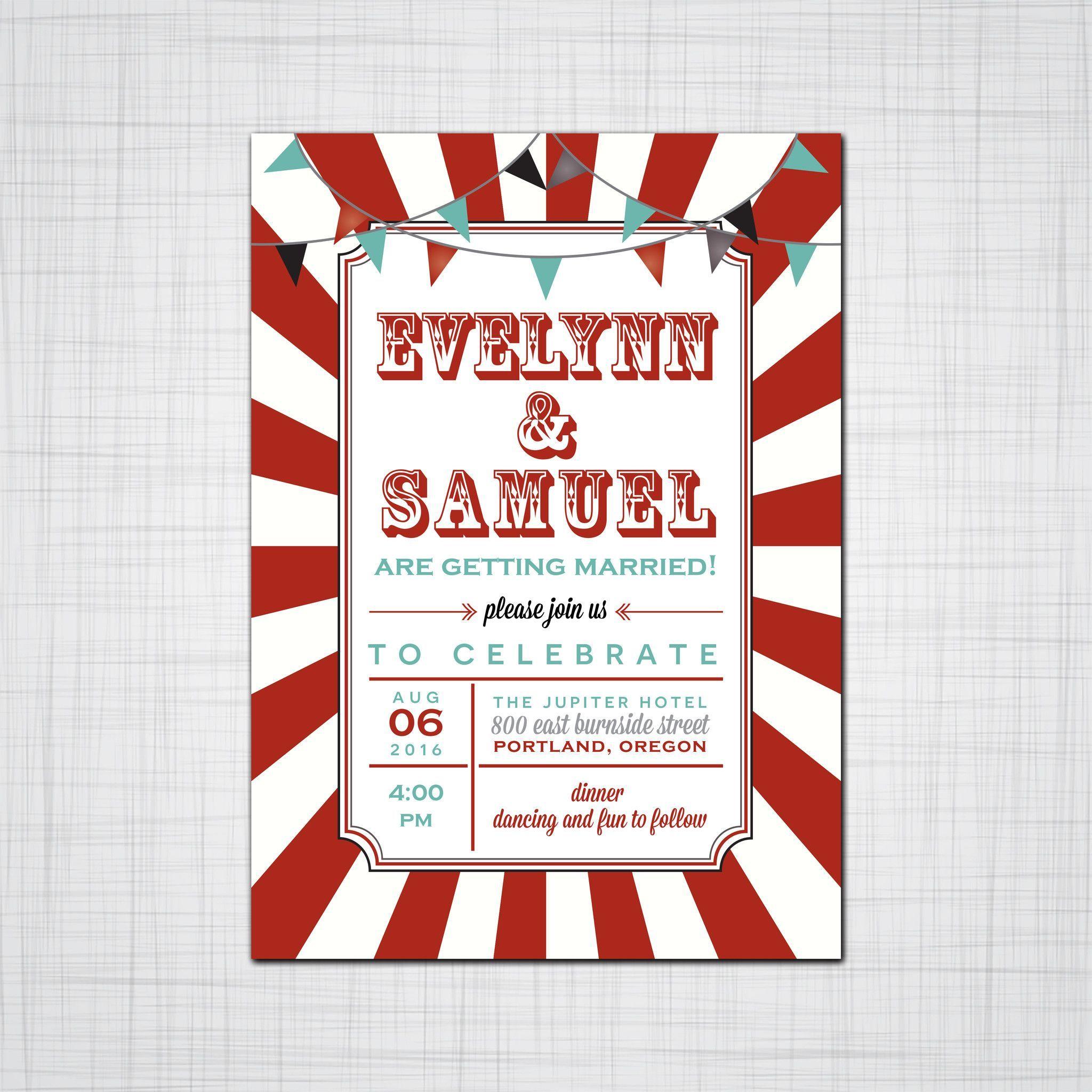 Carnival Circus Wedding Invitation, Carnival Event Invitation ...