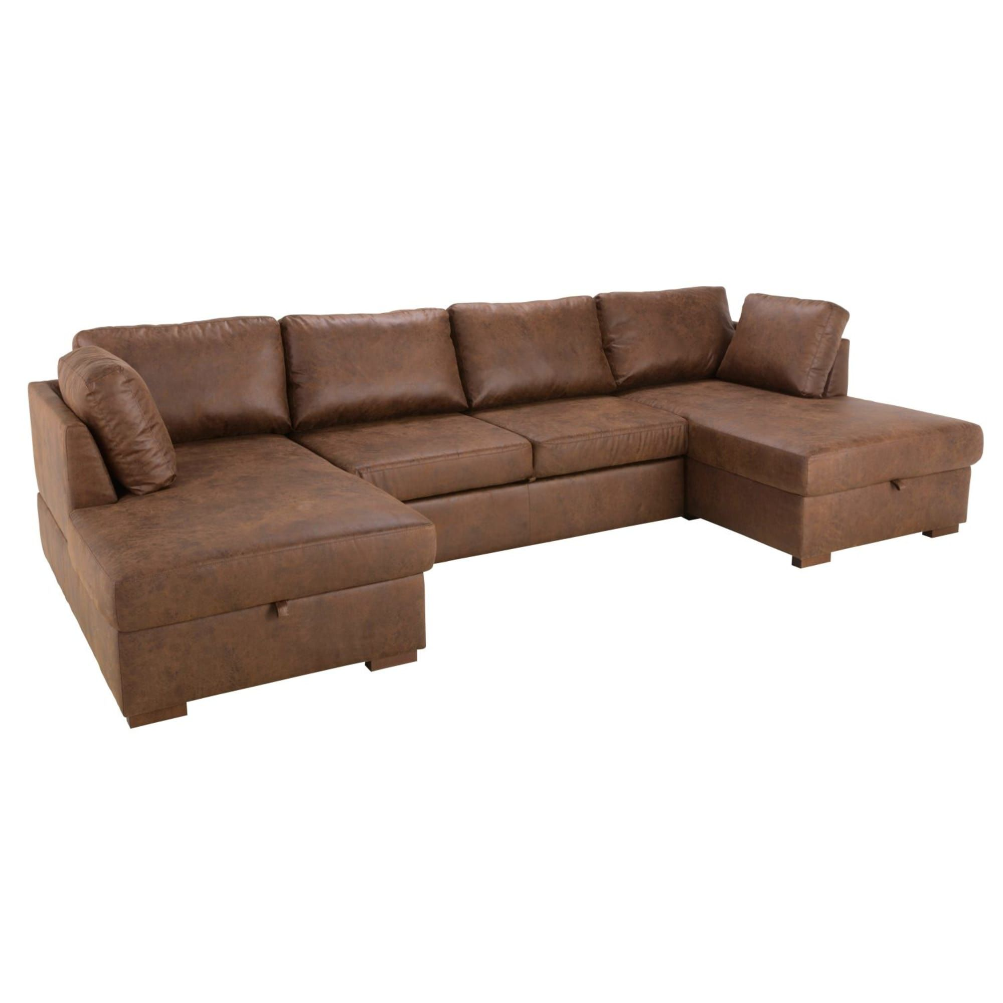 Canape Lit Panoramique 7 Places En Microsuede Marron Living Room
