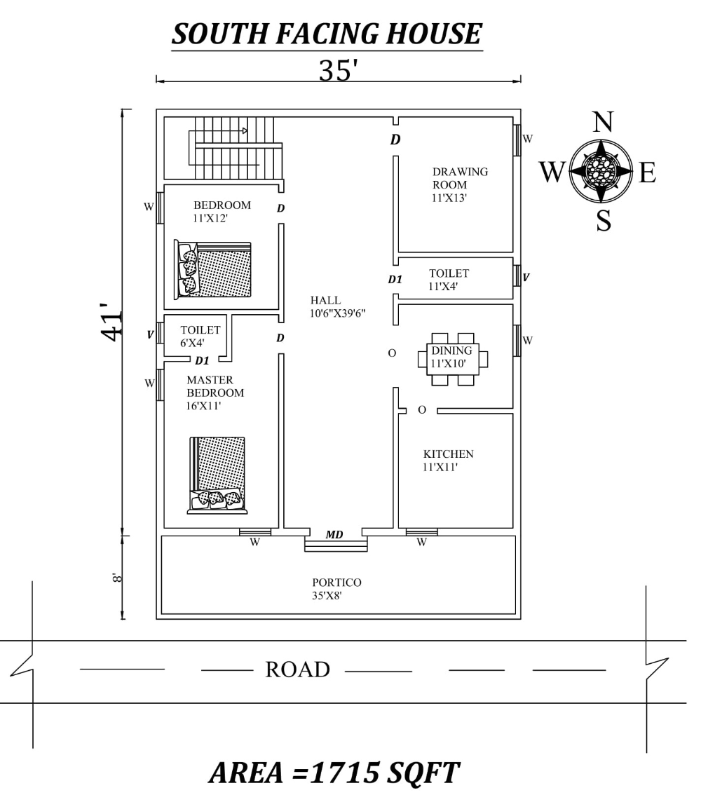 35 X41 2bhk Awesome South Facing House Plan As Per Vastu Shastra Autocad Dwg And Pdf File Details In 2020 South Facing House House Plans Little House Plans