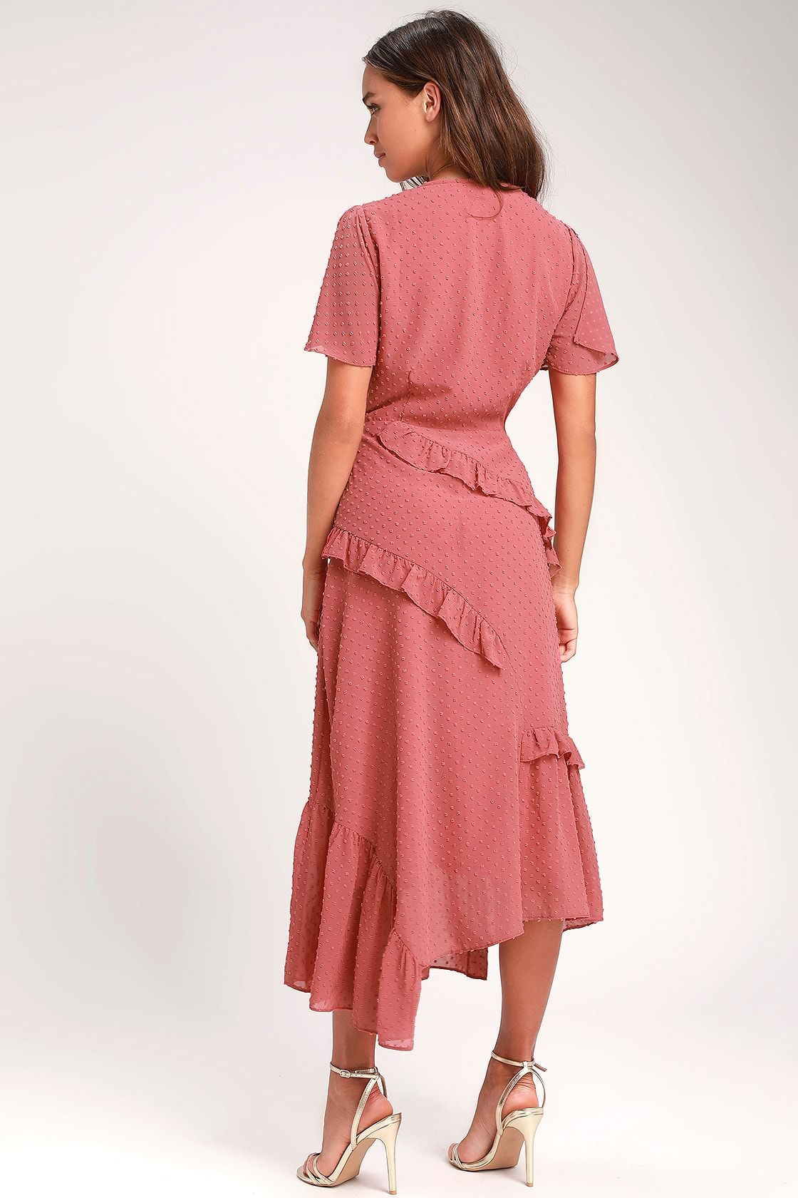 Next To You Rusty Rose Swiss Dot Ruffled Midi Dress In 2021 Midi Ruffle Dress Midi Dress Fashion [ 1680 x 1120 Pixel ]