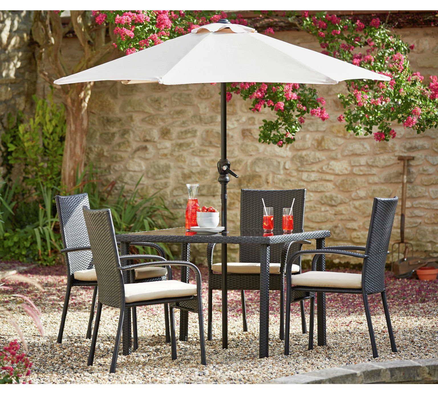 Buy HOME Lima Rattan 4 Set with Cushions Black at Argos