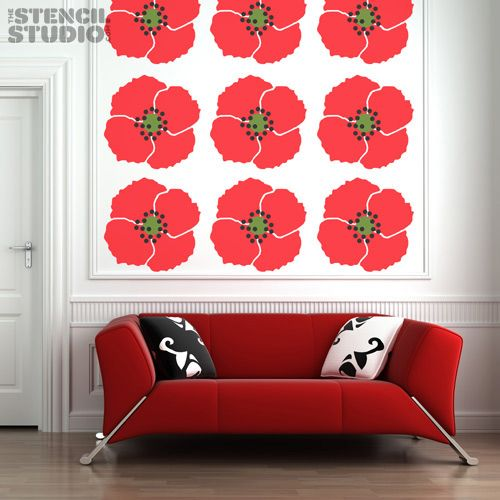 giant poppy stencil a unique reusable large wall stencil design