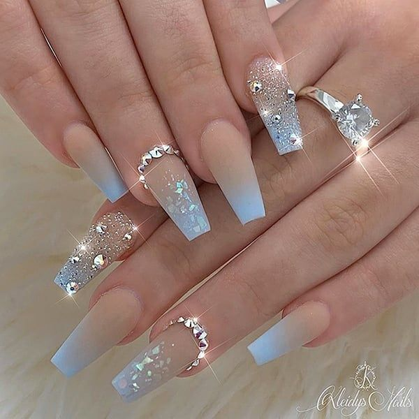Blue Ombre with Crystals  •  Nail Artist: @kleidys_nails  Follow her for more g...