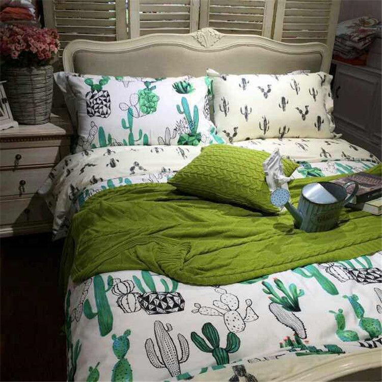 Free Shipping Via Ups 100 Cotton 4pcs Raindrop Bedding Rainbow Duvet Cover Green Plant Cactus Full Queen Size Without Fi Bedroom Decor Home Bedroom Home Decor