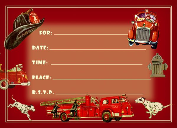 Firefighter Birthday Party Invitations Party Pack 8 cards Dolce