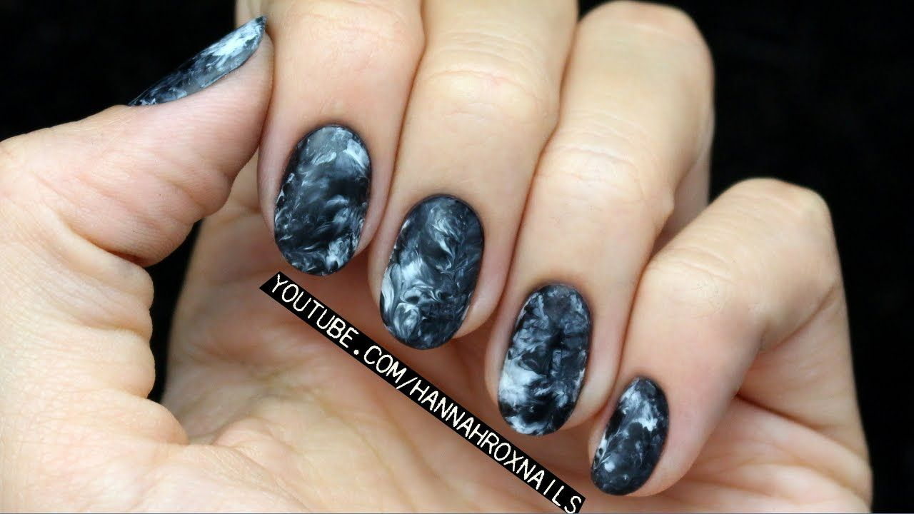 Smoky marble nails! No water needed! These would also be great for ...