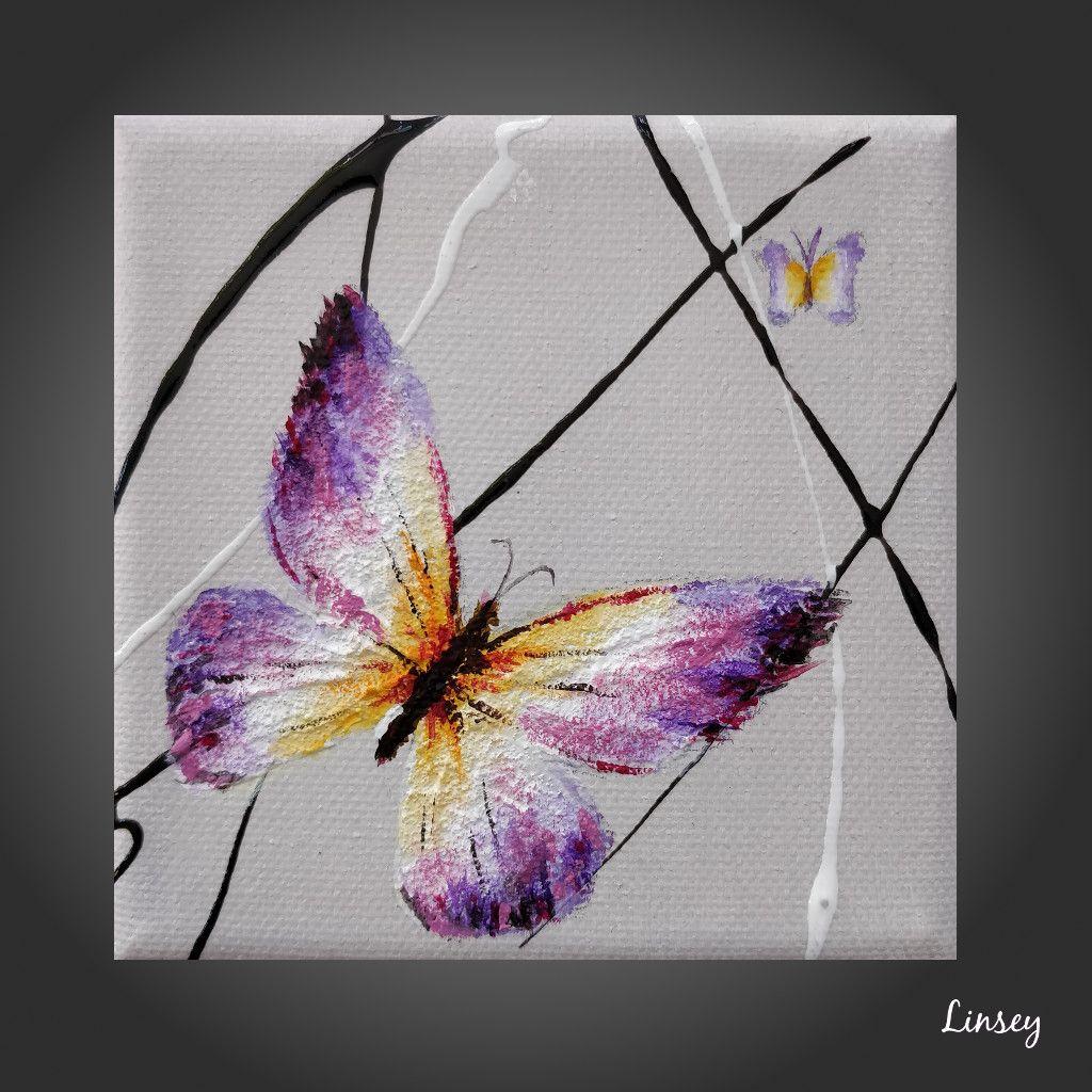 Papillon Linsey Art Contemporain Peinture Acrylique