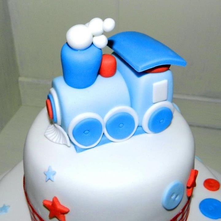 Handmade BLUE sugar model TRAIN cake decoration