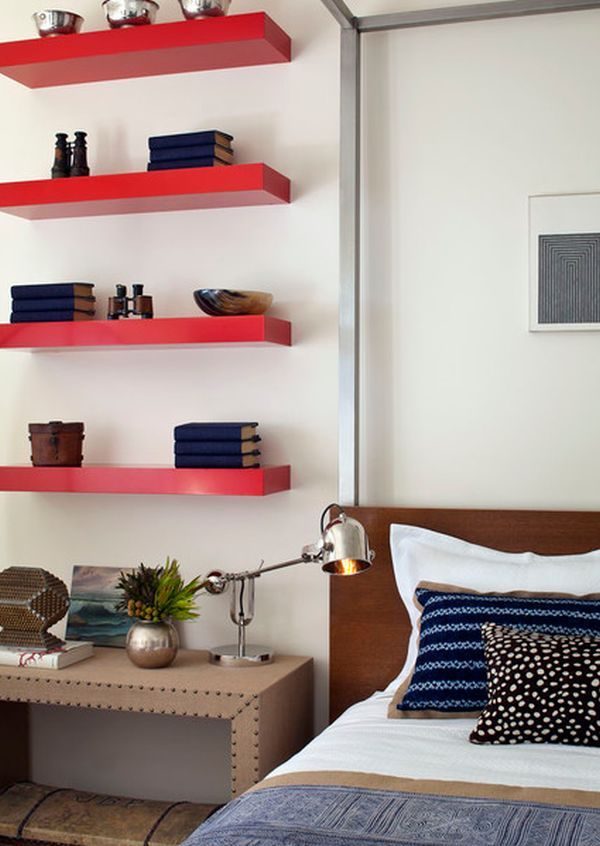 Simple Functional And Space Saving Floating Wall Shelving Ideas Floating Shelves Bedroom Red Shelves Floating