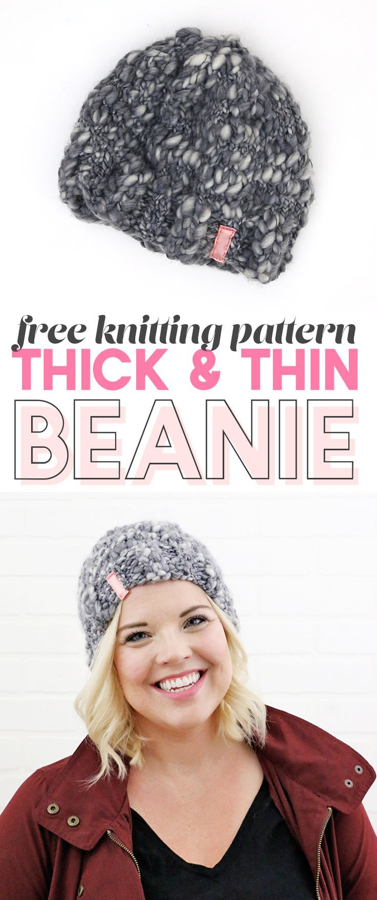 Simple Thick and Thin Knit Hat - Free Pattern