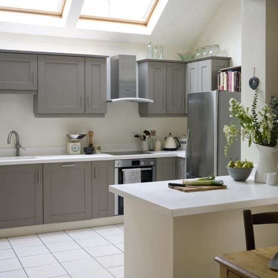 Take a tour of this modern shaker kitchen grey painted for Coloured kitchen units uk
