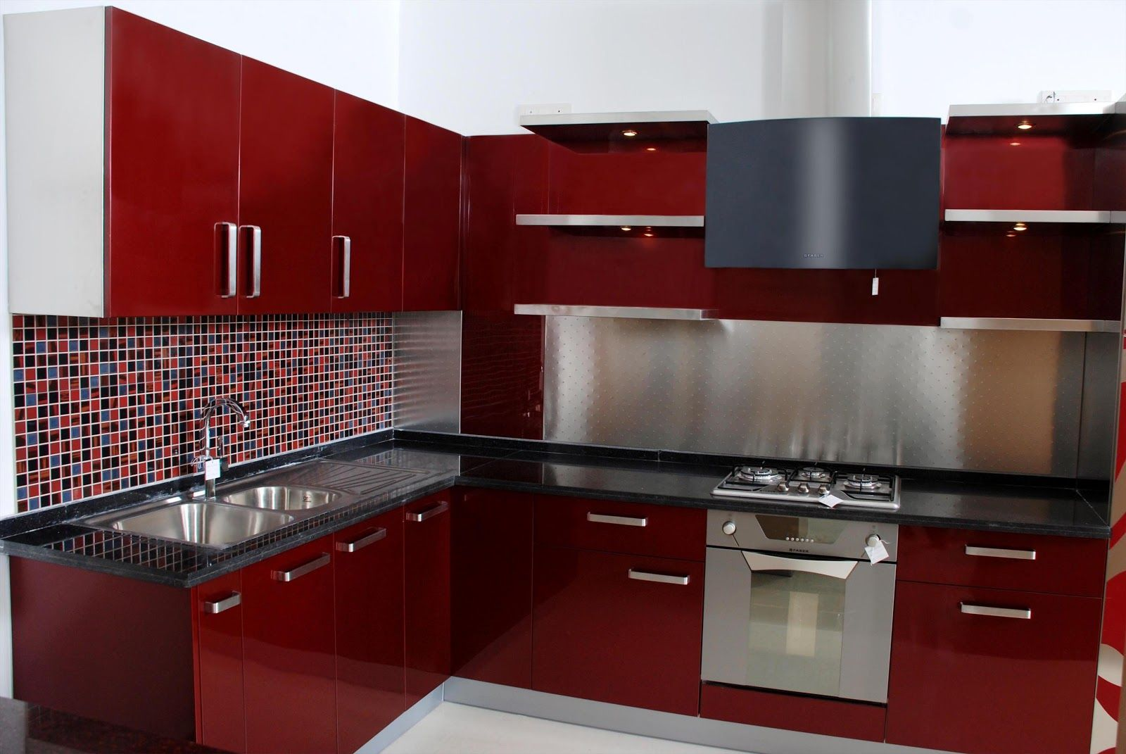 Contemporary L Shaped Kitchen Cabinet Featuring Red Gloss Finish Together  Black Granite Counter Top And Colorful Mosaic Pattern Backsplash As Well As  Double ... Part 57