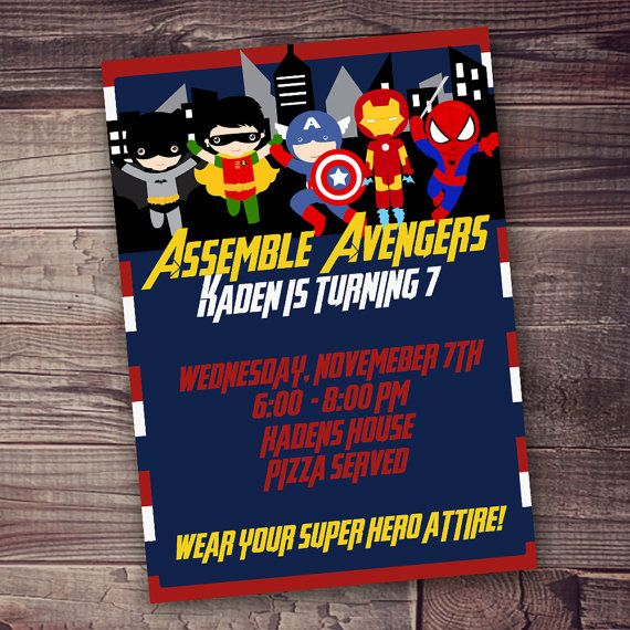 Avengers Invitation DIGITAL Free Wording Customization Superhero Birthday