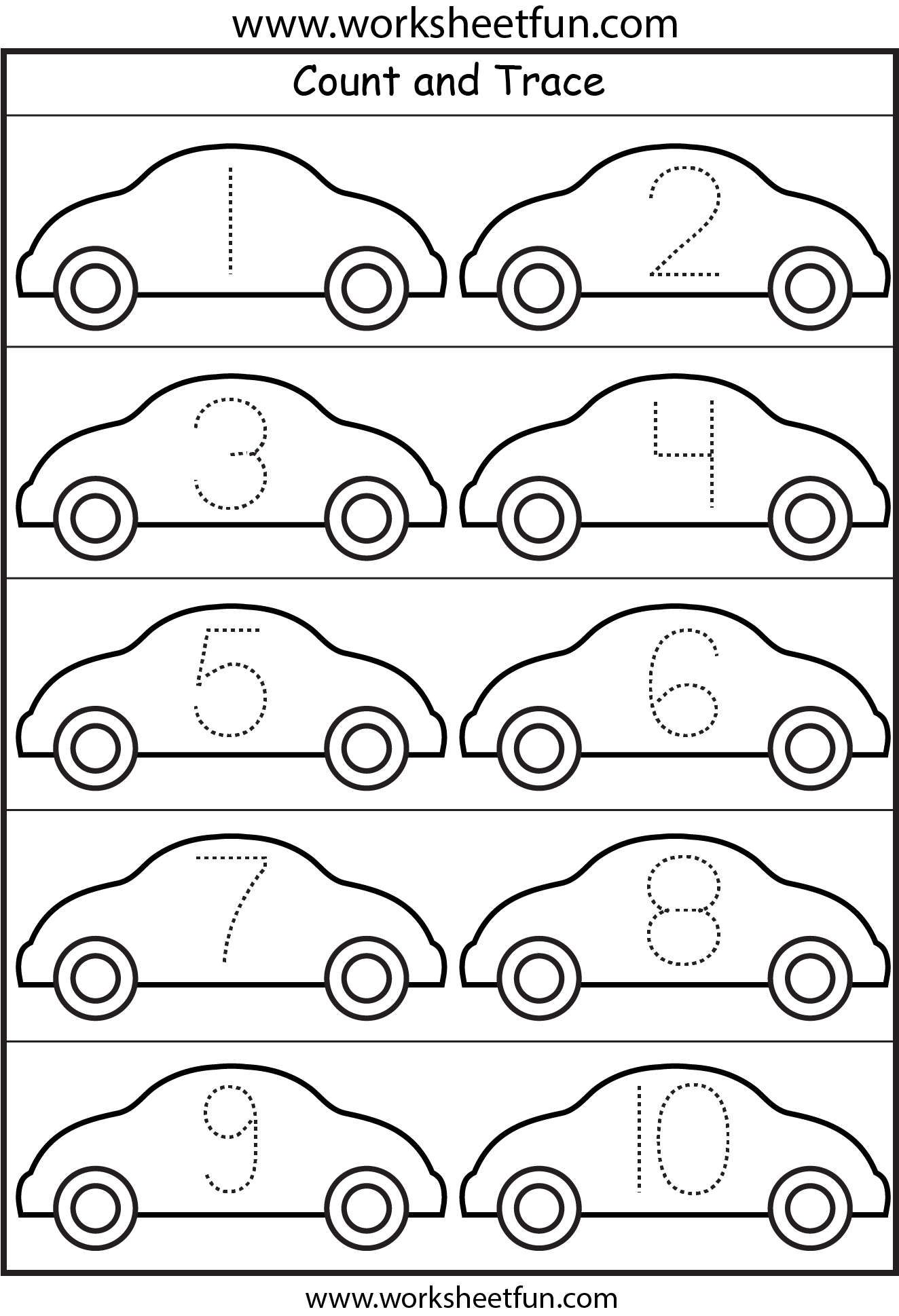 Cars Number Tracing With dry erase Repeat for muscle memory – Tracing Numbers Worksheets