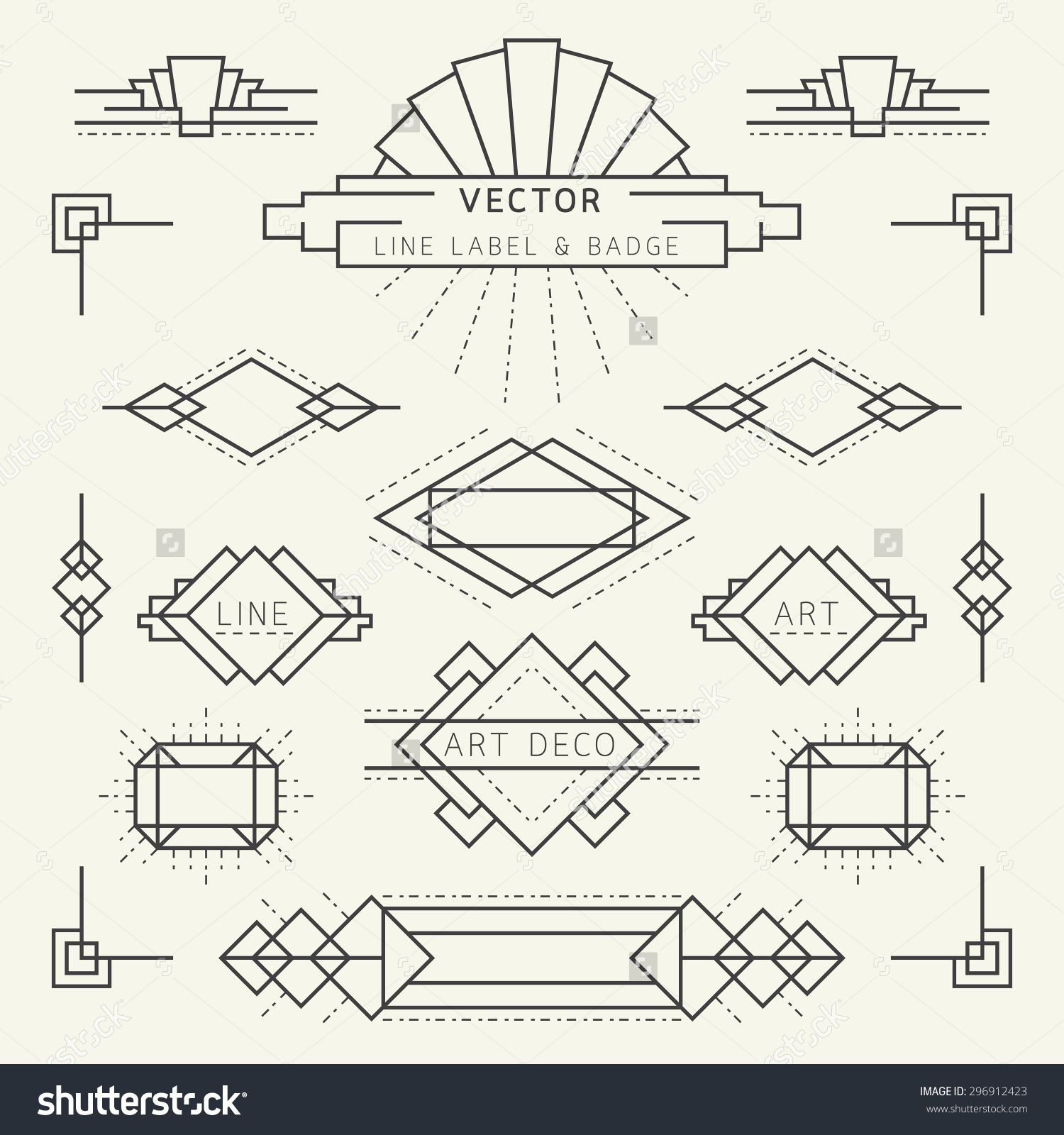 Art Deco Line Design : Stock vector art deco style line and geometric labels