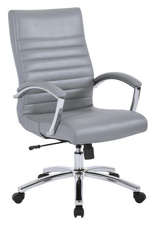 Work Smart Executive Mid Back Chair In Grey Faux Leather With Padded Arms And Chrome Finish Base Grey Office Star Office Chair Chair