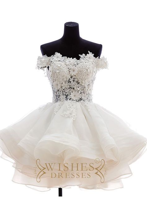 Lovely Off-the-shoulder Applique Short Wedding Dresses AM478 ... 3c6bac97ff29