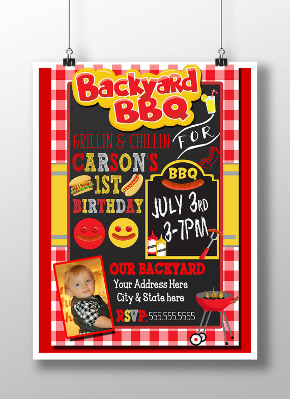 bbq birthday invitation bbq 1st birthday backyard bbq party