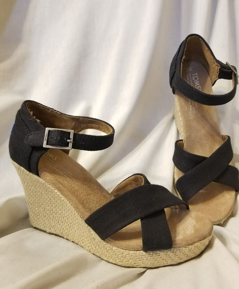564303fcc96 Toms sandals sz 7 Sienna wedge espadrille black canvas ankle strap heels  jute  Toms  Sandals