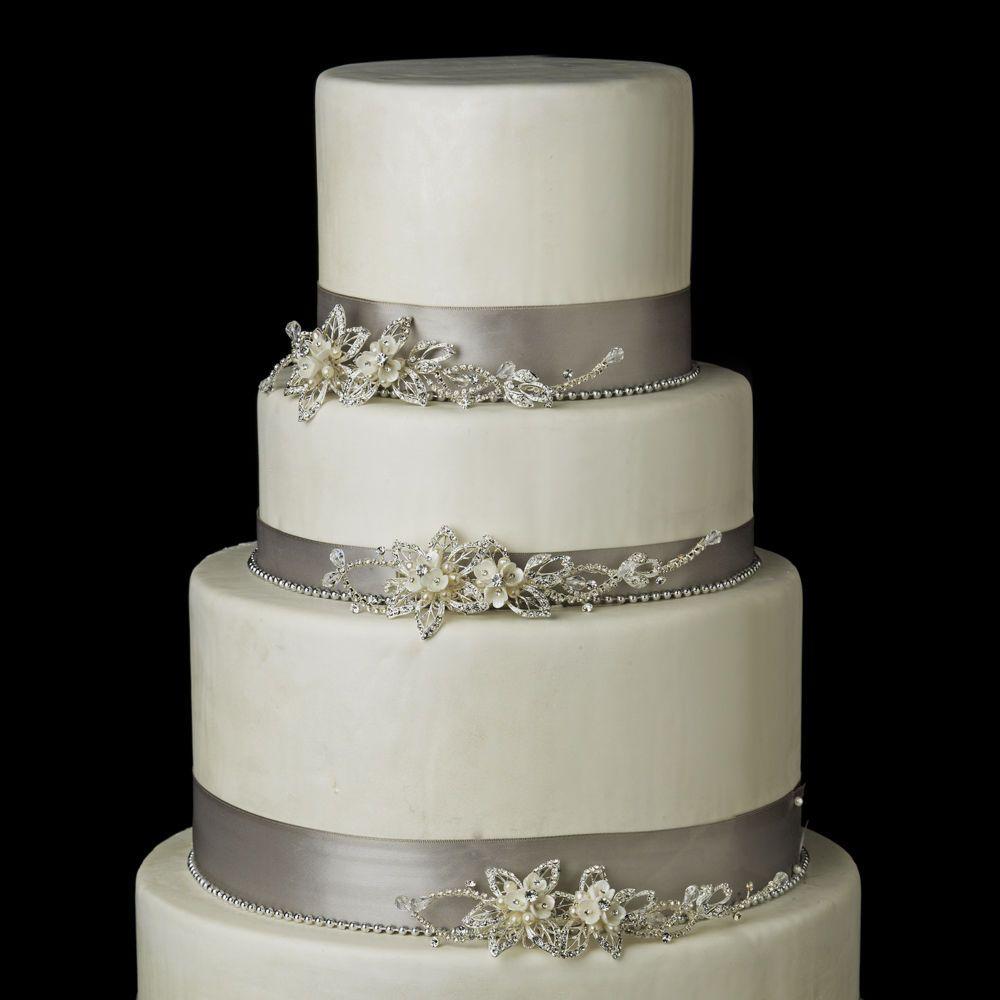 Silver or gold pearl u rhinestone floral vine wedding cake jewelry
