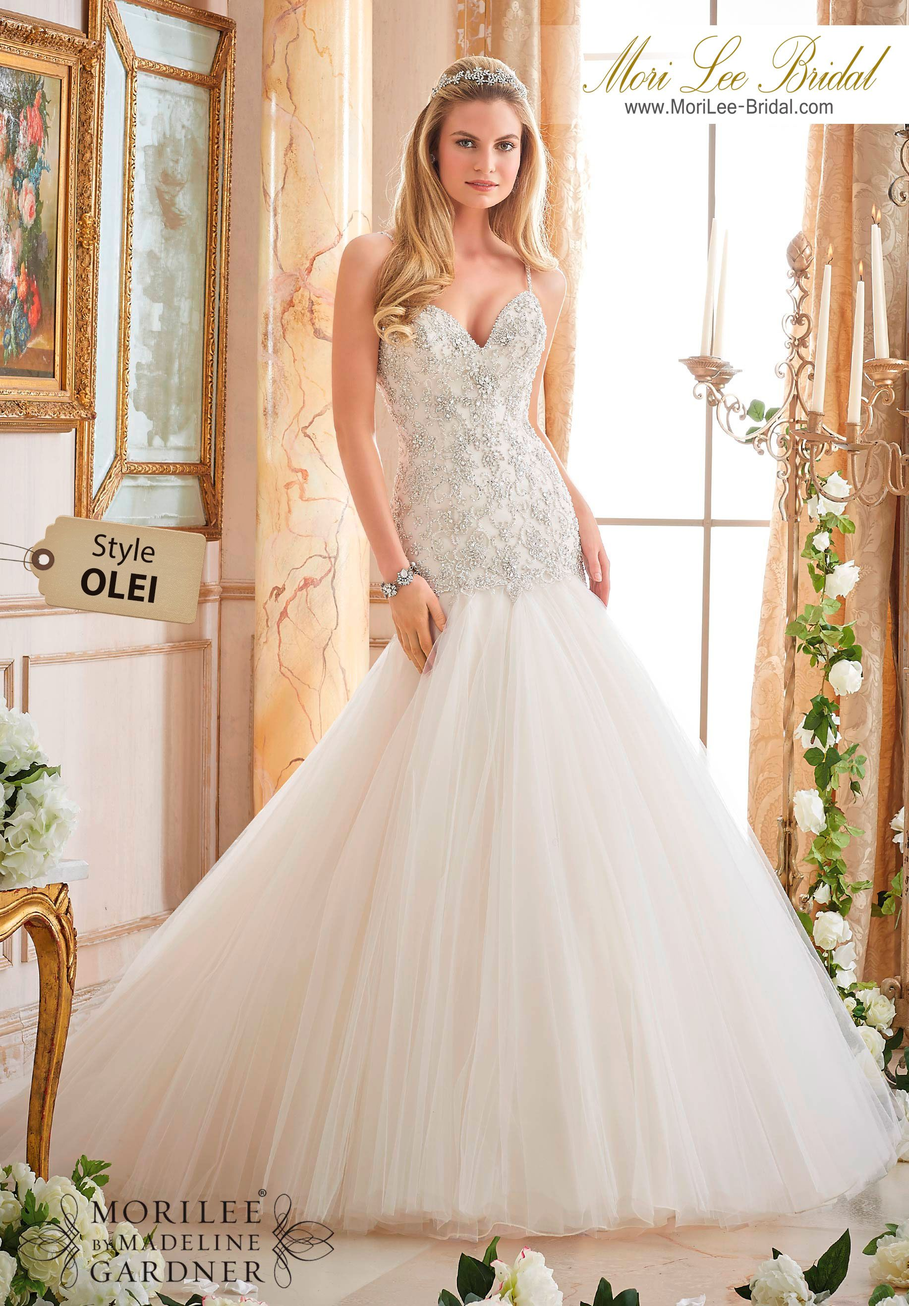 4a7da0712b773 Dress Style OLEI CRYSTALLIZED EMBROIDERY ON TULLE Colors Available:  White/Silver, Ivory/Silver, Light Gold/Silver