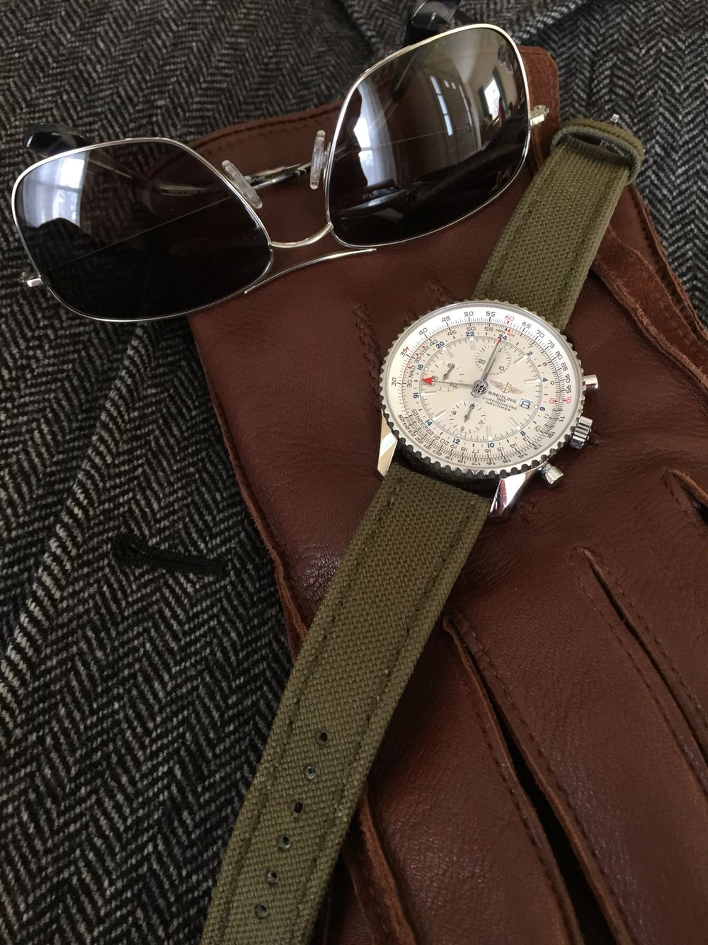 Breitling Navitimer World on a military green strap ...