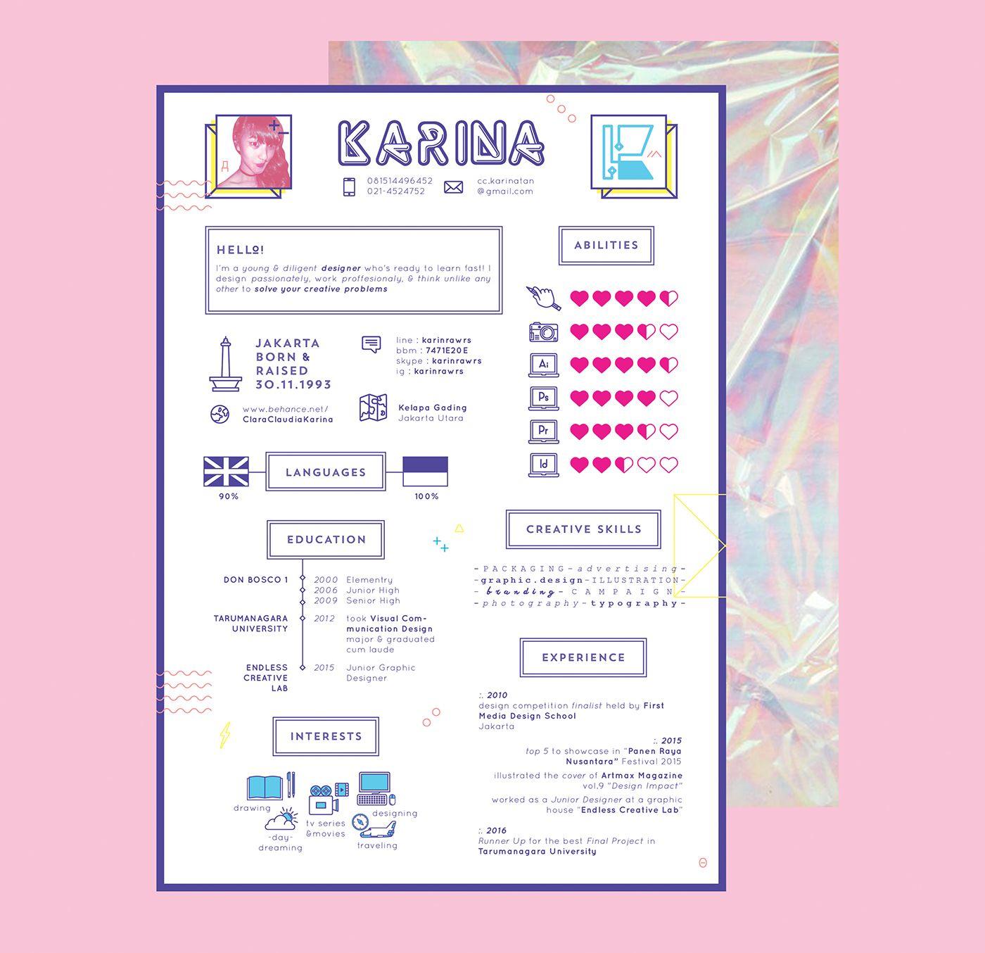 Pin Oleh Monica Angelina Di Graphic Design Cv Kreatif Desain Resume Desain Cv