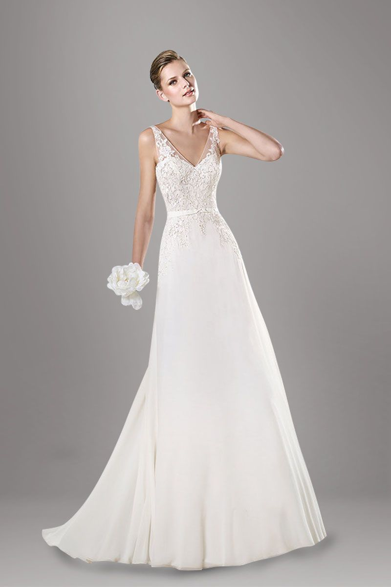 Illusion V Neck Lace Overlay Tulle A Line Chapel Train Wedding Dress With Rhinestone Ribbon