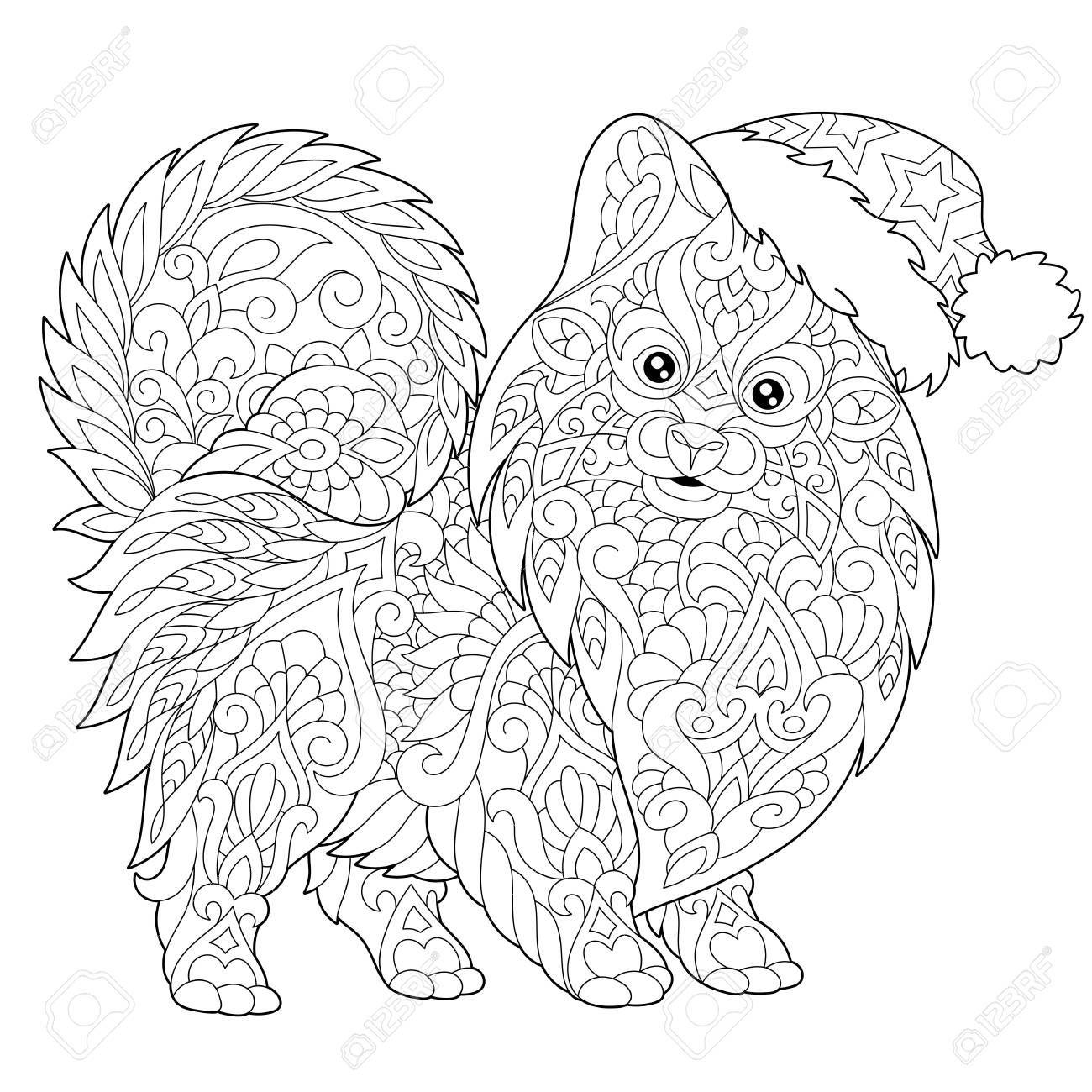 Kleurplaat Van Pommeren Honden Symbool Van 2018 Chinees Nieuwjaar Schets Tekening Uit De Vrije Hand Voor Merry Christmas Wenskaart Of Volwassen Antistress Kle Kleurboek Kleurplaten Wenskaart